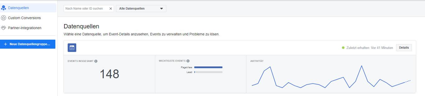 Facebook Pixel erstellt