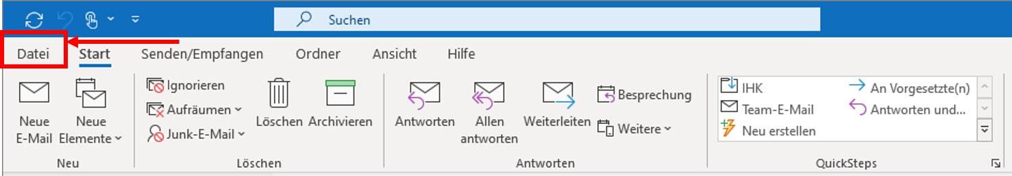 Neues Postfach in Outlook anlegen