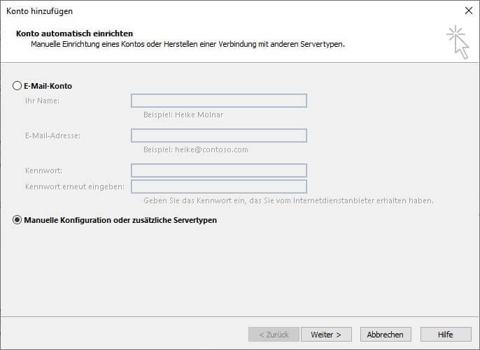 Manuelle Konfiguration oder zusätzliche Servertypen